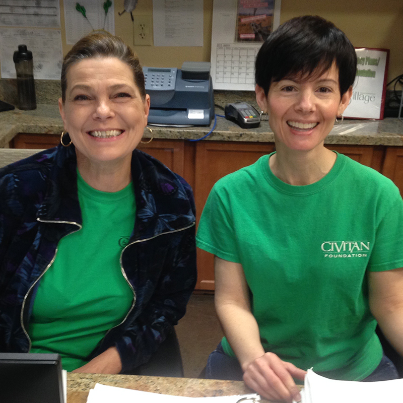Lisa and Melissa at front desk at Civitan Village