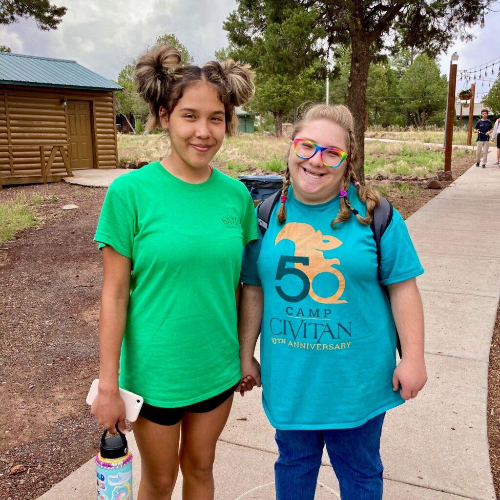 Camp Civitan Volunteer and Camper Pose for Photo